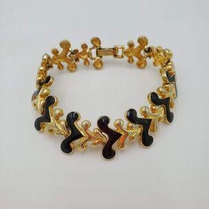 Jewelry - Vintage black & gold chunky bracelet